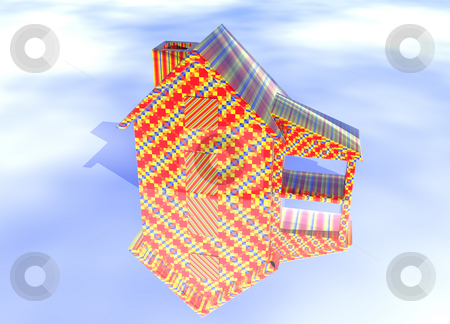 Abstract Christmas Gift Wrapped House stock photo, Abstract Christmas Gift Wrapped House Model on Blue-Sky Background with Reflection by Robert Davies