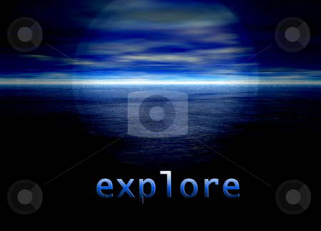 Explore Text on Bright Blue Distant Horizon Beautiful Background stock photo, Explore Text on Bright Blue Distant Horizon Beautiful Background by Robert Davies