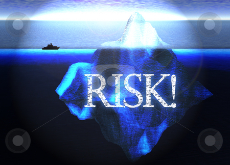 Floating Iceberg in the Open Ocean with Small Boat and Risk Text stock photo, Floating Iceberg in the Open Ocean with Small Boat and Risk Text Nearby Illustration by Robert Davies
