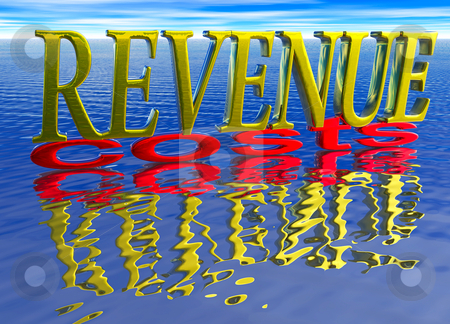 Big Revenue Small Costs Text with Reflection Water stock photo, Big Revenue Small Costs Text with Reflection over Water Ocean by Robert Davies