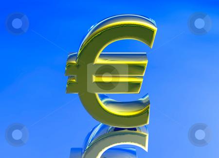 Gold EU Euro Currency Symbol stock photo, Gold EU Euro Currency Symbol on Blue Background by Robert Davies