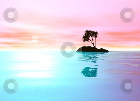 Romantic Pink Desert Island with Palm Tree stock photo, Romantic Pink Desert Island with Palm Tree Sillhouette against the Horizon by Robert Davies