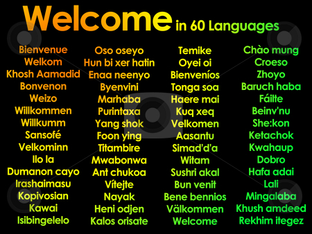 Welcome marhaba wilcommen written in lots of 60 different langua stock photo, Welcome marhaba wilcommen written in lots of 60 different languages by Robert Davies