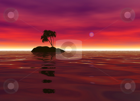 Romantic Desert Island with Palm Tree Silhouette stock photo, Romantic Desert Island with Palm Tree Silhouette against the Red Horizon by Robert Davies