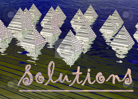Digital Pyramids in Rendered Water with Solutions Text for Techn stock photo, Digital Pyramids in Rendered Water with Solutions Text for Technology Businesses by Robert Davies