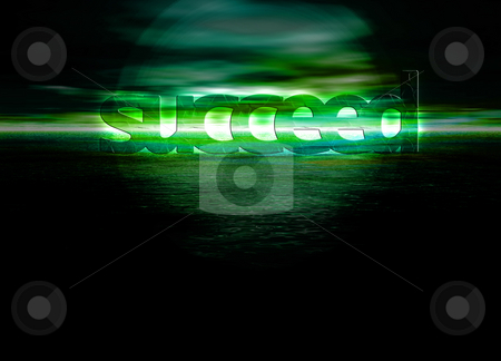 Succeed Text on Stunning Green Bright Ocean Sea Horizon at Night stock photo, Succeed Text on Stunning Green Bright Ocean Sea Horizon at Night by Robert Davies
