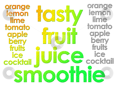 Glowing Tasty Fruit Juice Smoothie Text for Websites or Labellin stock photo, Glowing Tasty Fruit Juice Smoothie Text for Websites or Labelling on White by Robert Davies