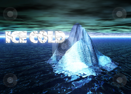 Ice Cold Text With Floating Iceberg in Ocean stock photo, Ice Cold Text With Floating Iceberg in Ocean by Robert Davies