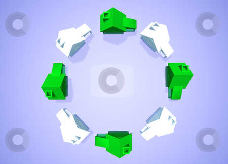 Environmental Friendly Houses Neighbourhood Group stock photo, Ring of White and Green Houses in Circle showing Environmental Friendly Houses Abstract Neighbourhood by Robert Davies