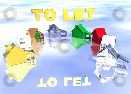 To Let Gold Text Ring of Various Types of Houses stock photo, To Let Gold Text Ring of Various Types of Houses in Different Styles Abstract Neighbourhood by Robert Davies
