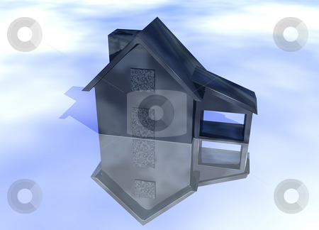 Abstract Oily Black House Model stock photo, Abstract Oily Black House Model on Blue-Sky Background with Reflection Concept Fuel Expenses or Rising Prices and Bad Environment by Robert Davies