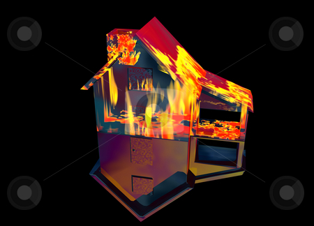 Red Home on Fire House on Black stock photo, Red Home on Fire House Model with Reflection Concept For Risk or Property Insurance Protection on Black Background by Robert Davies