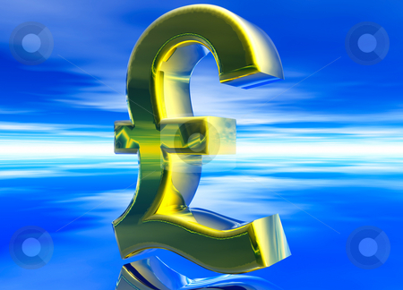Gold UK GBP Pound Sterling Currency Symbol stock photo, Gold UK GBP Pound Sterling Currency Symbol on Blue Background by Robert Davies