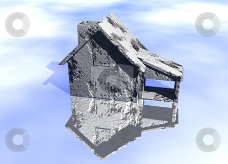 Concrete Grey Gray House stock photo, Concrete Grey Gray House Model on Blue-Sky Background with Reflection Concept Poor or Damaged Home At Rish by Robert Davies