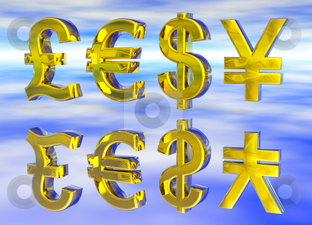 Euro Pound Dollar and Yen Symbols in Gold stock photo, Euro Pound Dollar and Yen Symbols in Gold with Reflection by Robert Davies