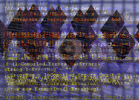 Programming Code With Grid on Digital Fantasy Pyramids Backgroun stock photo, Programming Code With Grid on Digital Fantasy Pyramids Background by Robert Davies