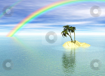Romantic Desert Island with Palm Tree and Rainbow stock photo, Romantic Desert Island with Palm Tree and Rainbow against the Horizon by Robert Davies
