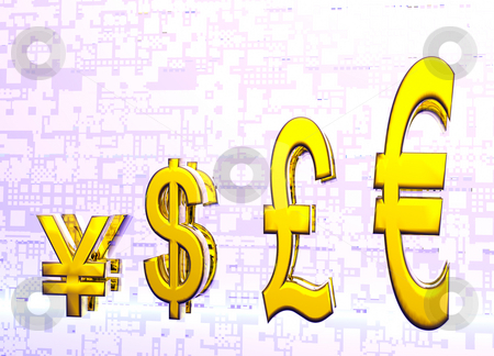 Euro Pound Dollar and Yen Symbols in Gold Graph stock photo, Euro Pound Dollar and Yen Symbols in Gold with Reflection in Graph or Chart Format by Robert Davies