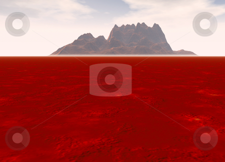 Distant Mountain on Horizon Landscape stock photo, Distant Red Rocky Mountain on Horizon Landscape by Robert Davies