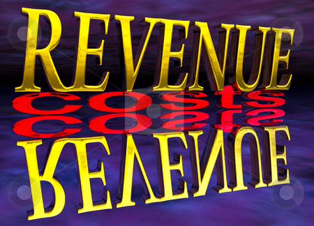 Big Revenue Small Costs Text with Reflection Night stock photo, Big Revenue Small Costs Text with Reflection at Night Purple by Robert Davies