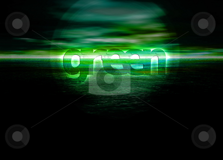 Glowing Green text on horizon for environment stock photo, Glowing Green text on horizon for environment by Robert Davies