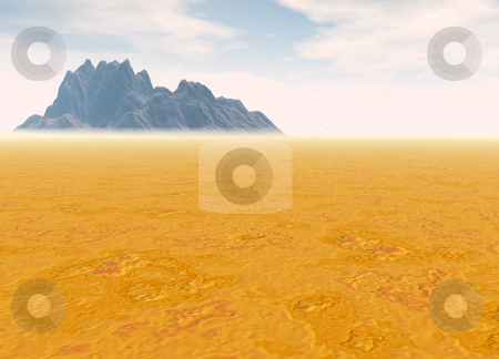 Distant Mountain on Horizon Landscape Desert Scenery stock photo, Distant Mountain on Horizon Landscape Desert Scene Lots of Room For Text by Robert Davies