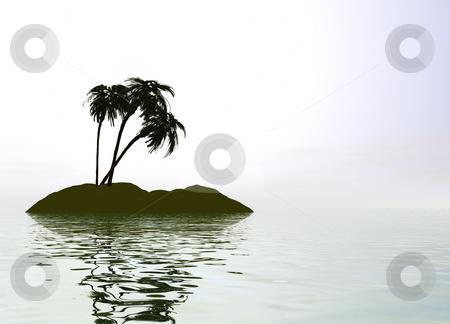 Romantic Desert Island with Palm Tree stock photo, Romantic Desert Island with Palm Tree against the Horizon by Robert Davies