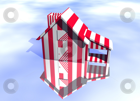 Carnival Style Striped House  stock photo, Carnival Style Striped House Model on Blue-Sky Background with Reflection Concept Joke or Fun or Pest Control by Robert Davies