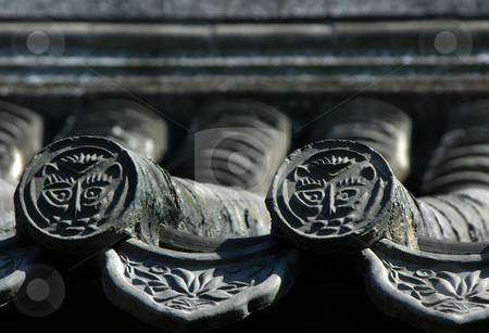 Ancient Grey Roof Tiles Beijing China  stock photo, Ancient Grey Roof Tiles, Beijing, China, Near the Forbidden City by William Perry