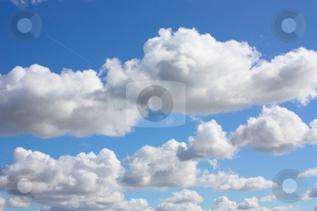 Many white clouds stock photo, Blue sky with white clouds by Gregory Dean