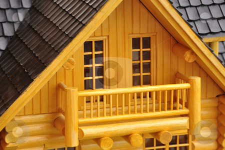Balcony model stock photo, Detail of house wood model.. by Patrik Ruzic