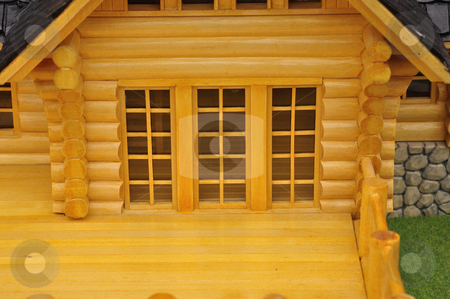 Detail of glass door stock photo, Detail of house wood model.. by Patrik Ruzic