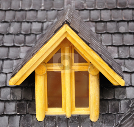 Dormer window stock photo, Detail of house wood model.. by Patrik Ruzic