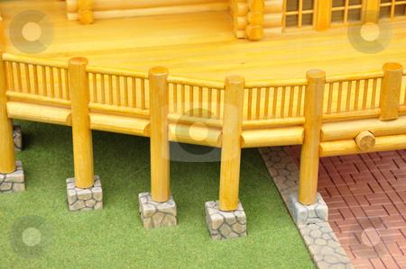 Wood balcony model stock photo, Detail of house wood model.. by Patrik Ruzic