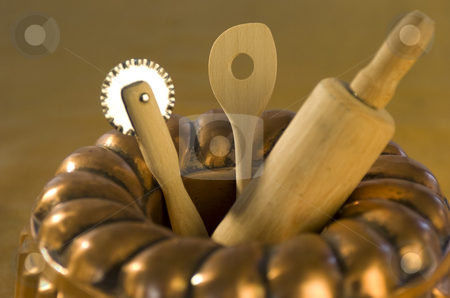 Cake tin and utensils stock photo, Cake tin with baking utensils close-up by Andreas Brenner