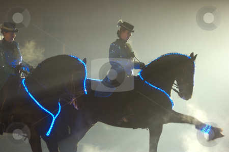 Neon horses stock photo, 2 horses with neon lights at show by Andreas Brenner