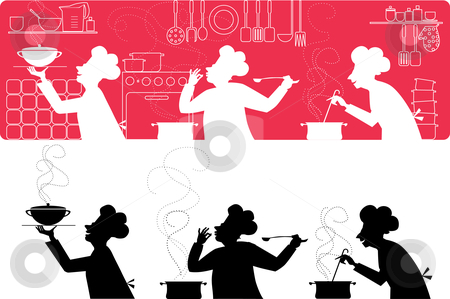 Cooks in the kitchen stock vector clipart, Silhouettes of three cooks working in the kitchen by Vanda Grigorovic