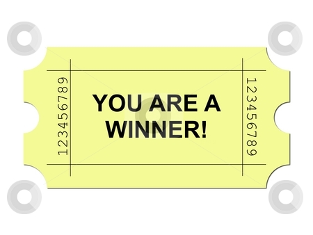 Ticket Yellow stock photo, Yellow ticket on white background with sample writing YOU ARE A WINNER by Henrik Lehnerer