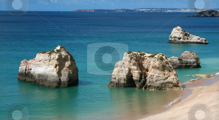 Coast stock photo, Rocks on the beach by Marc Torrell