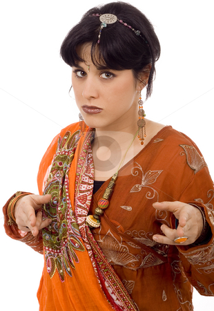 Woman stock photo, Woman on ethnic scarf white isolate by Marc Torrell