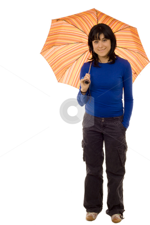 Umbrella stock photo, Woman with umbrella white isolate by Marc Torrell