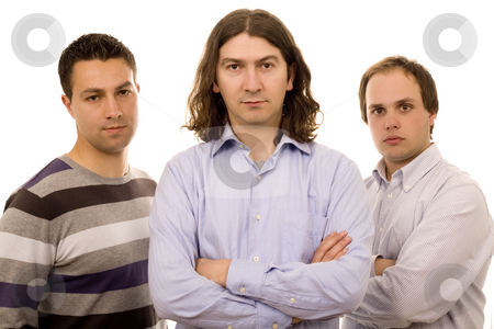 Three business friends stock photo, Three young men white isolate fashion business by Marc Torrell