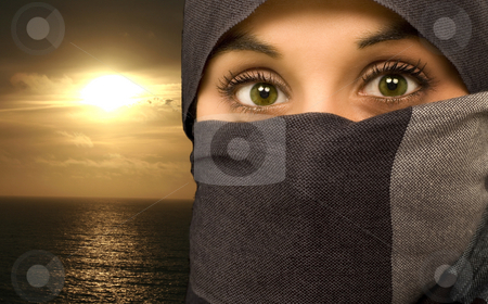 Ethnic beautiful green eyes woman stock photo, Ethnic beautiful green eyes woman isolated in black portrait by Marc Torrell