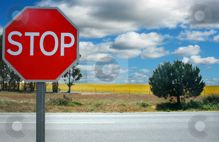 Stop stock photo, Traffic stop signal on a meadow by Marc Torrell