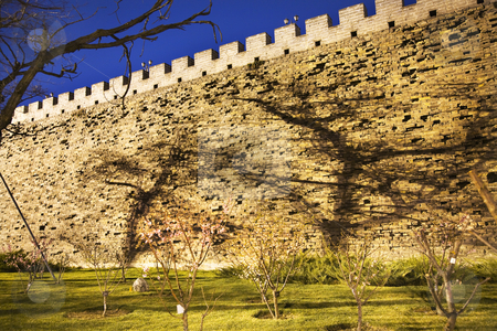 City Wall Park with Shadows Beijing China  stock photo, Night Shot City Wall Park Beijing, China with Shadows  This is the city wall park with the original wall that surrounded the old city of Beijing. by William Perry