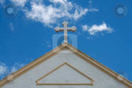 Cross stock photo, Church cross on a summer blue sky by Marc Torrell