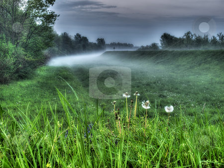 Foggines stock photo, Evening spring haze after rainy days presented with HDR and  soft focus. by Sinisa Botas