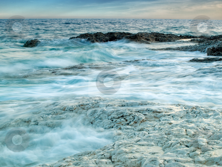 Sea stock photo, Windy and the rocky coast of the Adriatic Sea, presented with a