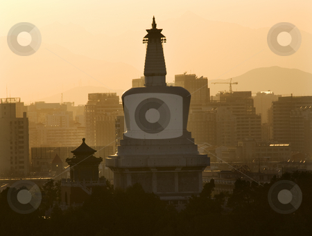 Beihai Stupa Pagoda Sunset Beijing China stock photo, Beihai Stupa Dagoba Park Close at Sunset from Jingshan Park, Beijing, China by William Perry