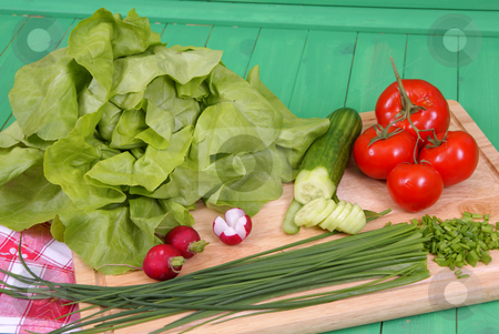 Vegetables stock photo, Variable types of vegetables on salad on background by Jolanta Dabrowska